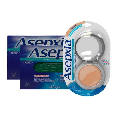 Imagem 1 do produto Kit Asepxia 2 Sabonetes Fórmula Forte 90g + Maquiagem Creme Antiacne Natural 10g