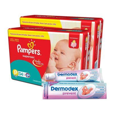 Imagem 1 do produto Kit Pampers Fralda Descartável Supersec P 68 Unidades + Dermodex Prevent 30g