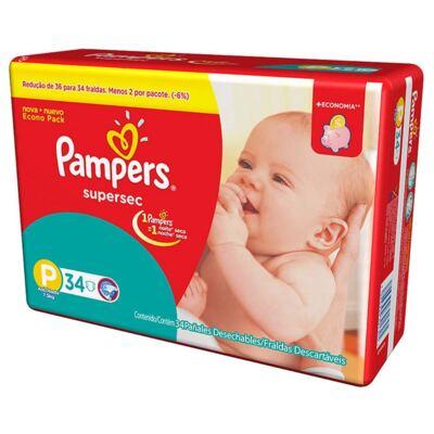 Imagem 2 do produto Kit Pampers Fralda Descartável Supersec P 68 Unidades + Dermodex Prevent 30g