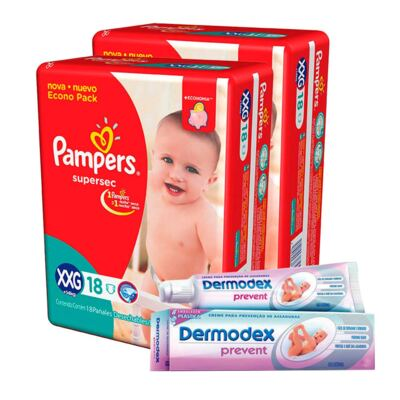 Kit Pampers Fralda Descartável Supersec XXG 36 Unidades + Dermodex Prevent 30g