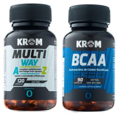Imagem 1 do produto Multi Way Krom 120 Cápsulas + Suplemento BCAA Krom 90 Cápsulas