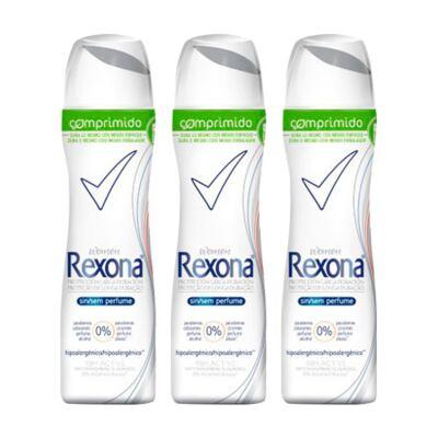 Kit Desodorante Rexona Comprimido Feminino Aerosol Sem Perfume 56g 3 Unidades