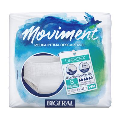 Roupa Íntima Bigfral Moviment Unissex - P/M | 8 unidades