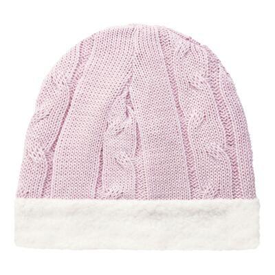 Imagem 1 do produto Gorro para bebê em pelúcia & tricot trançado Rosa - Mini Sailor - 46134264 GORRO FORRADO TRICOT/MAL ROSA BEBE-3-6