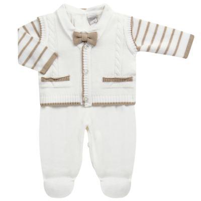 Imagem 1 do produto Macacão longo c/ Colete & Gravata para bebe em tricot Benjamim - Mini & Classic - 3069659 MACACAO FALSO COLETE TRICOT BRANCO-RN