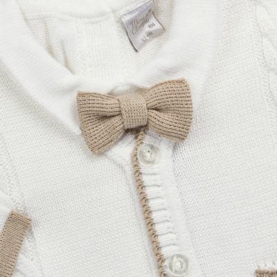 Imagem 2 do produto Macacão longo c/ Colete & Gravata para bebe em tricot Benjamim - Mini & Classic - 3069659 MACACAO FALSO COLETE TRICOT BRANCO-RN