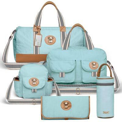 Bolsa Passeio para bebe + Bolsa Ibiza + Frasqueira Térmica Toulon + Trocador Portátil + Porta Mamadeira sarja Adventure Azul - Classic for Baby Bags