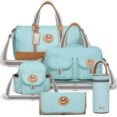 Imagem 1 do produto Bolsa Passeio para bebe + Bolsa Ibiza + Frasqueira Térmica Toulon + Trocador Portátil + Porta Mamadeira sarja Adventure Azul - Classic for Baby Bags
