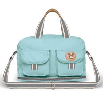 Imagem 3 do produto Bolsa Passeio para bebe + Bolsa Ibiza + Frasqueira Térmica Toulon + Trocador Portátil + Porta Mamadeira sarja Adventure Azul - Classic for Baby Bags