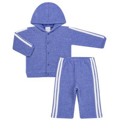 Casaco c/ capuz e Calça para bebe em soft Azul - Tilly Baby - TB0172020.09 CONJ. CASACO COM CALÇA SOFT AZUL-M