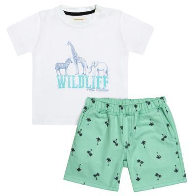 Camiseta com Bermuda em sarja Safari - Petit