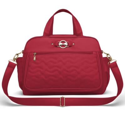 Imagem 3 do produto Mala Maternidade para bebe + Bolsa Liverpool + Frasqueira Térmica Melrose + Trocador Portátil Laços Matelassê Cereja - Classic for Baby Bags