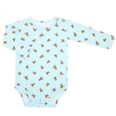 Imagem 1 do produto Body longo para bebe em algodão egípcio c/ jato de cerâmica e filtro solar fps 50 Teddy Sam - Mini & Kids - BS980 BODY LONGO SUEDINE URSINHO-GG