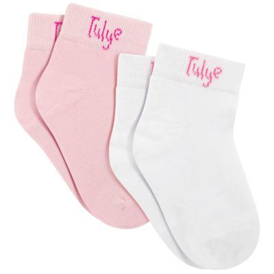 Pack 2 meias Soquete Branco/Rosa - Charpey
