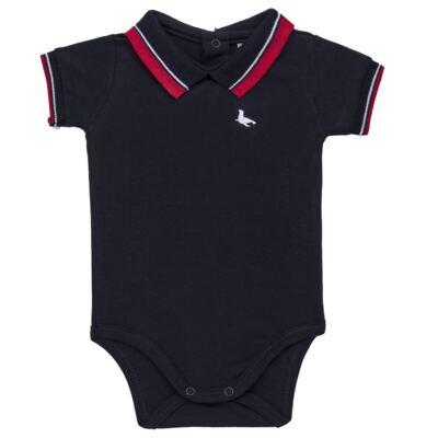 Imagem 1 do produto Body Polo para bebe em cotton touch Marinho - Mini Sailor - 04194262 BODY POLO M/C C/ RETILINEA SUEDINE MARINHO -3-6