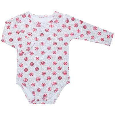 Body longo para bebe em algodão egípcio c/ jato de cerâmica e filtro solar fps 50 Vitoriana - Mini & Kids - FLORAL -GG