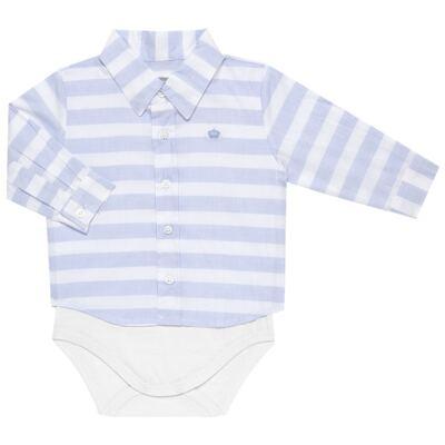 Imagem 1 do produto Body Camisa para bebe em tricoline Blue Stripes - Baby Classic - 0921445 CAMISA BODY TRICOLINE CLÁSSICO-M