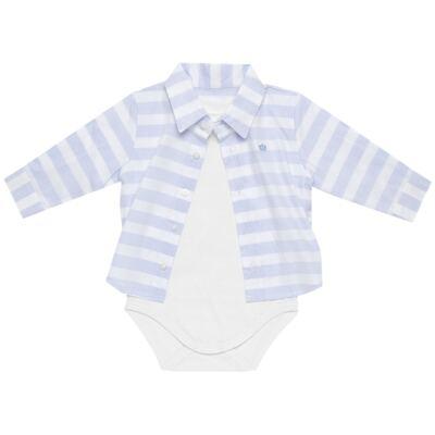 Imagem 3 do produto Body Camisa para bebe em tricoline Blue Stripes - Baby Classic - 0921445 CAMISA BODY TRICOLINE CLÁSSICO-M
