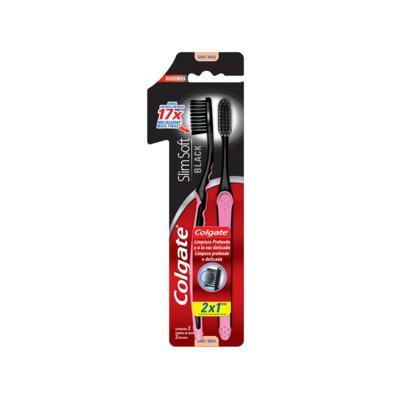 Imagem 1 do produto Escova de Dente Colgate Slim Soft Black cerdas macias Leve 2 Pague 1 - 2 unidades