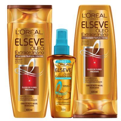 Kit Spray + Shampoo + Condicionador L'Oréal Paris Elseve Óleo Extraordinário Nutrição Intensa - Kit