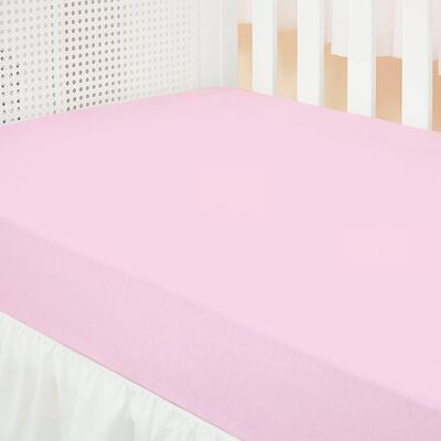 Imagem 1 do produto Lençol de baixo para berço em malha Rosa - Biramar Baby