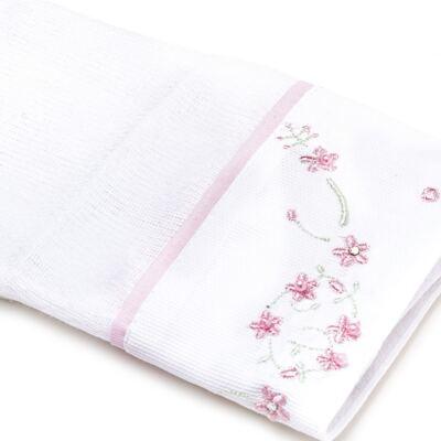 Imagem 2 do produto Kit Amamentação: 1 paninho de ombro + 1 paninho de boca para bebe em fralda Flowers - Roana