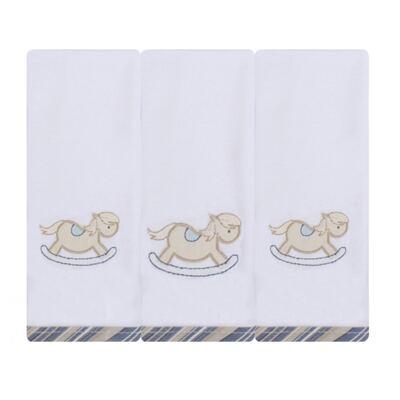 Imagem 1 do produto Kit com 3 fraldinhas de boca para bebe em malha Cavalinho - Just Baby