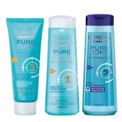 Imagem 1 do produto Kit Adstringente Anti-Cravos + Hidratante Facial + Limpador Facial L'Oréal Paris Pure Zone - Kit