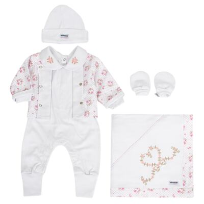 Saída Maternidade Tiffany: casaquinho + macacão + manta + touca + luvas