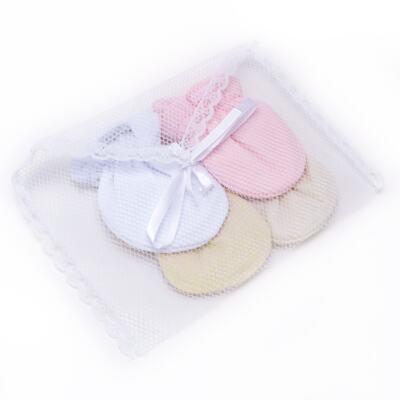 Imagem 6 do produto Kit 4 luvas para bebe em malha Branca/Amarela/Marfim/Rosa - Roana