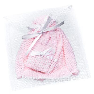 Imagem 4 do produto Kit: Gorro e Luva em tricot Rosa/Branco - Roana