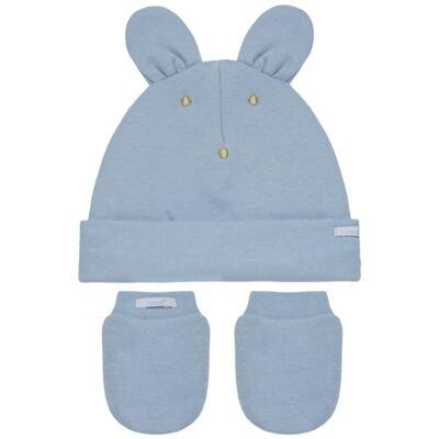 Kit Bichinho: Touca + Par de Luvas para bebê em suedine Azul - Roana