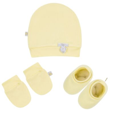 Kit c/ Touca, Luva e Sapatinho para bebe em malha Amarelo - Beth Bebê