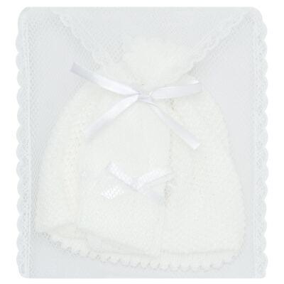 Imagem 4 do produto Kit Gorro e Luva em tricot Branco - Roana