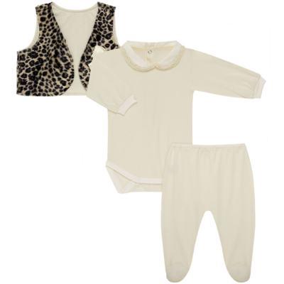 Conjunto para bebe Leopard Print: Colete + Body longo + Calça - Roana