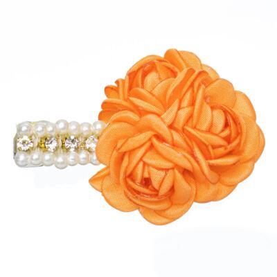 Presilha Mini Flores Pérolas & Strass Amarela - Roana