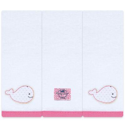Imagem 1 do produto Kit com 3 fraldinhas de boca em malha Cute Whale - Classic for Baby