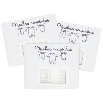 Kit 3 Saquinhos para maternidade Minhas Roupinhas Marinho - Classic for Baby