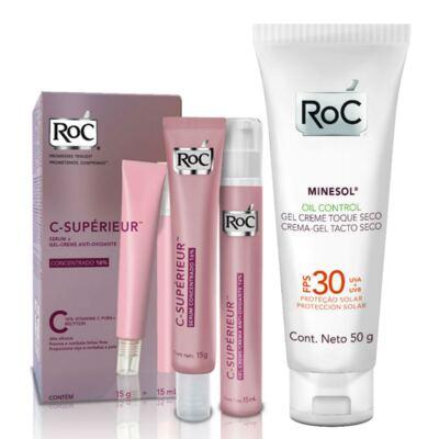 Kit Roc C-Supérieur Serum 15g + Gel Creme Anti-Oxidante 15m + Protetor Solar Roc Minesol Oil Control FPS 30 50g