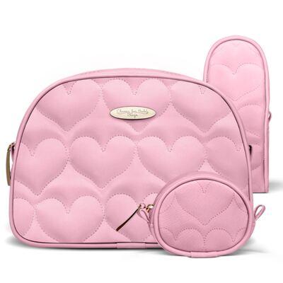 Kit Acessórios para bebe Coração Matelassê Rosa - Classic for Baby Bags