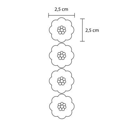 Imagem 2 do produto Kit: 4 Flores adesivas Branca/Pink/Amarela/Marfim - Roana