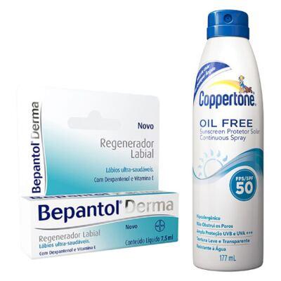 Imagem 1 do produto Bepantol Regenerador Labial Derma 7,5ml + Protetor Solar Coppertone Oil Free FPS 50 177ml