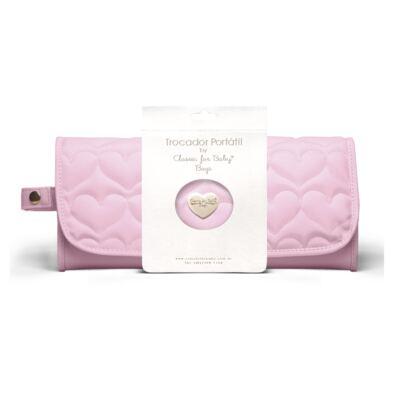 Trocador Portátil para bebe Corações Matelassê Rosa - Classic for Baby Bags