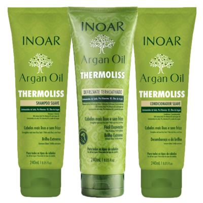 Imagem 1 do produto Kit Shampoo + Condicionador + Balsamo Inoar Argan Oil Thermoliss - Kit