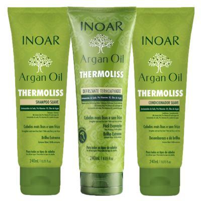 Imagem 1 do produto Kit Shampoo + Condicionador + Balsamo Inoar Argan Oil Thermoliss - Kit