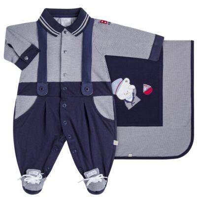 Imagem 1 do produto Jogo Maternidade para bebê: Macacão Suspensório e Manta em suedine Benjamin - Beth Bebê