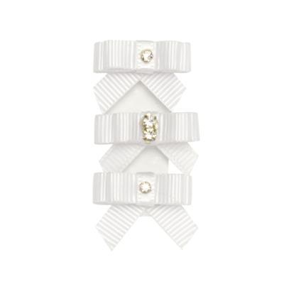 Kit: 3 Laços adesivos em gorgurão Branco - Roana