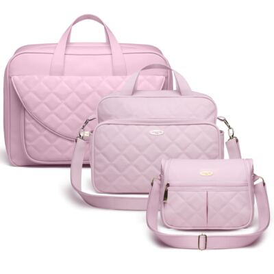 Kit Mala maternidade + Bolsa M + Frasqueira Miami Golden Clean Rosa - Classic for Baby Bags