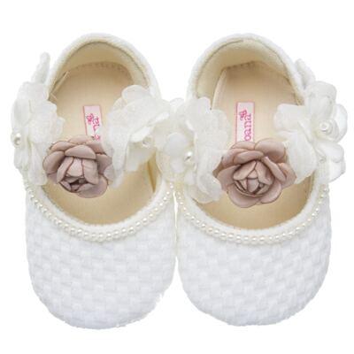 Sapatilha para bebe em cetim Flores - Roana
