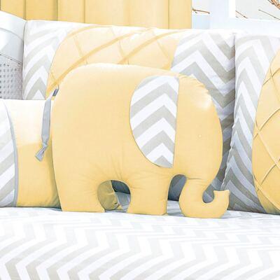 Imagem 1 do produto Almofada para bebe Elefantinho Brooklyn Amarela - Biramar Baby